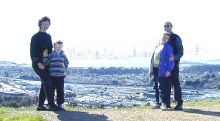 Family on El Cerrito hill overlooking Bay Area