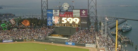 The scoreboard lights up as Barry Bonds hits his 599th home run