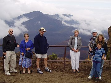 Group overlook the volcano crater