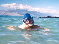 Grandpops in snorkel and swimhat