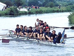 Francis' beflagged Magdalene boat celebrates getting their Oar