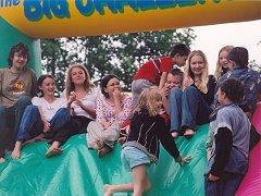 Kids commune on the inflatable