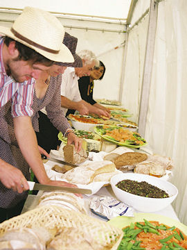 Lunch spread in the marquee