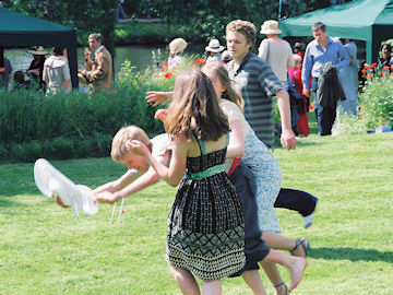 Hat frisby on the croquet lawn