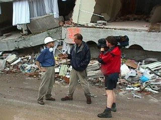 Andrew and an ITN News Crew amid the rubble of Adapazari