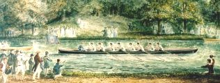 Early 19th century painting of rowing at Ditton Corner