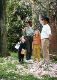 Family in blossom shower 1999