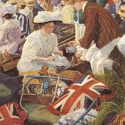 Union Jack Cushion in the 1906 Bumps painting